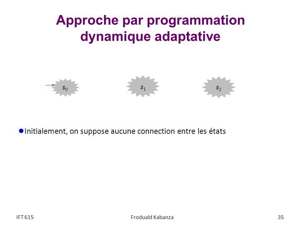 Approche par programmation dynamique adaptative Initialement, on suppose aucune connection entre les états IFT 615Froduald Kabanza 35 s2s2 s1s1 s0s0