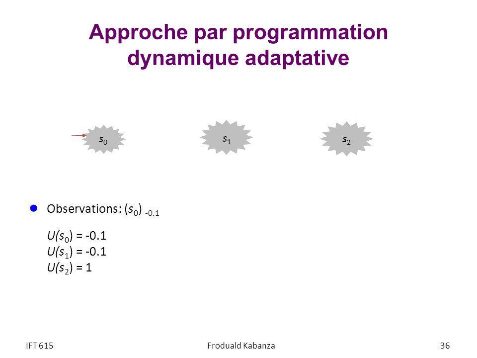 Approche par programmation dynamique adaptative Observations: (s 0 ) -0.1 U(s 0 ) = -0.1 U(s 1 ) = -0.1 U(s 2 ) = 1 IFT 615Froduald Kabanza 36 s2s2 s1s1 s0s0