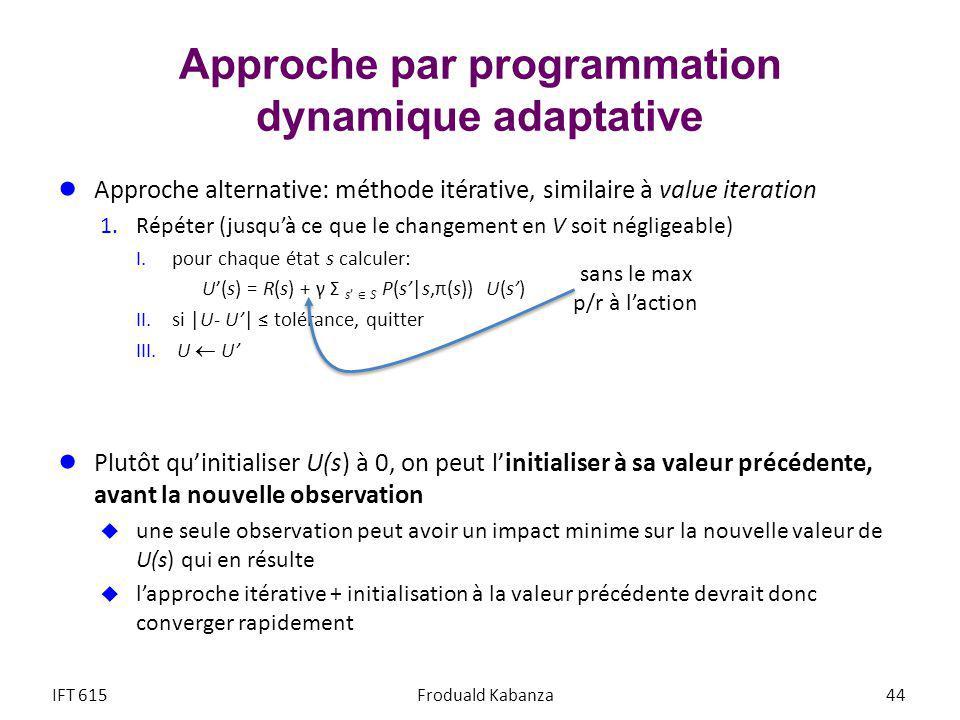 Approche par programmation dynamique adaptative Approche alternative: méthode itérative, similaire à value iteration 1.Répéter (jusquà ce que le changement en V soit négligeable) I.pour chaque état s calculer: U(s) = R(s) + γ Σ s S P(s|s,π(s)) U(s) II.si |U- U| tolérance, quitter III.