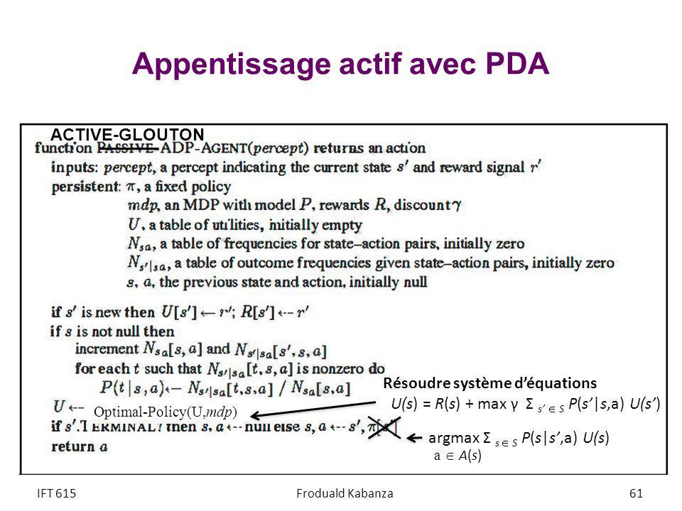 Appentissage actif avec PDA IFT 615Froduald Kabanza61 ACTIVE-GLOUTON argmax Σ s S P(s|s,a) U(s) a A(s) Résoudre système déquations U(s) = R(s) + max γ Σ s S P(s|s,a) U(s) Optimal-Policy(U,mdp)