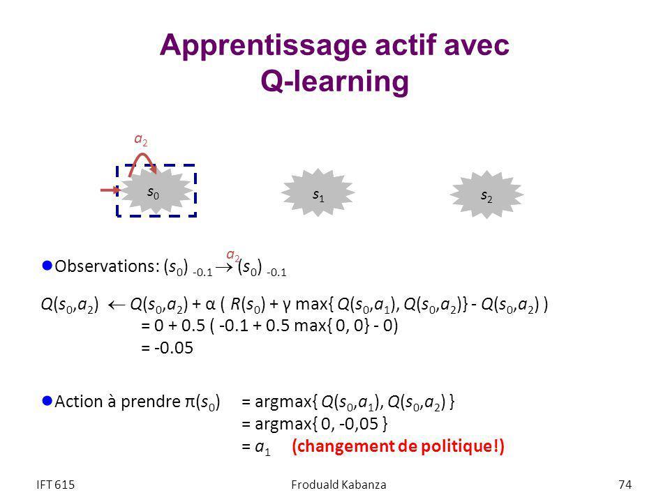 Apprentissage actif avec Q-learning Observations: (s 0 ) -0.1 (s 0 ) -0.1 Q(s 0,a 2 ) Q(s 0,a 2 ) + α ( R(s 0 ) + γ max{ Q(s 0,a 1 ), Q(s 0,a 2 )} - Q(s 0,a 2 ) ) = 0 + 0.5 ( -0.1 + 0.5 max{ 0, 0} - 0) = -0.05 Action à prendre π(s 0 ) = argmax{ Q(s 0,a 1 ), Q(s 0,a 2 ) } = argmax{ 0, -0,05 } = a 1 (changement de politique!) IFT 615Froduald Kabanza 74 a2a2 a2a2 s2s2 s1s1 s0s0