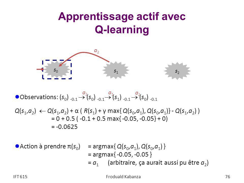 Apprentissage actif avec Q-learning Observations: (s 0 ) -0.1 (s 0 ) -0.1 (s 1 ) -0.1 (s 0 ) -0.1 Q(s 1,a 2 ) Q(s 1,a 2 ) + α ( R(s 1 ) + γ max{ Q(s 0,a 1 ), Q(s 0,a 1 )} - Q(s 1,a 2 ) ) = 0 + 0.5 ( -0.1 + 0.5 max{ -0.05, -0.05} + 0) = -0.0625 Action à prendre π(s 0 ) = argmax{ Q(s 0,a 1 ), Q(s 0,a 1 ) } = argmax{ -0.05, -0.05 } = a 1 (arbitraire, ça aurait aussi pu être a 2 ) IFT 615Froduald Kabanza 76 a2a2 a1a1 a2a2 a2a2 s2s2 s1s1 s0s0