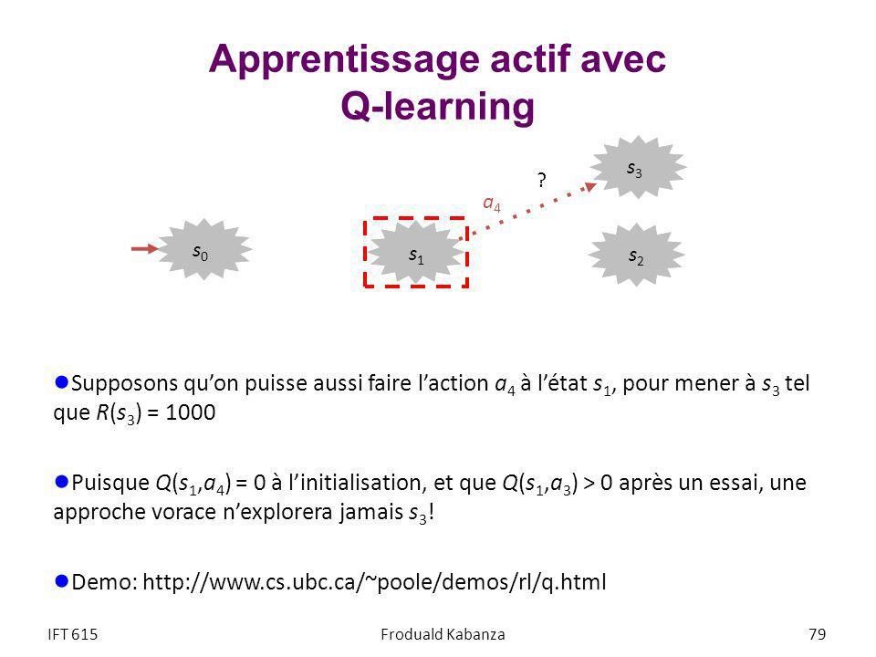 Apprentissage actif avec Q-learning Supposons quon puisse aussi faire laction a 4 à létat s 1, pour mener à s 3 tel que R(s 3 ) = 1000 Puisque Q(s 1,a 4 ) = 0 à linitialisation, et que Q(s 1,a 3 ) > 0 après un essai, une approche vorace nexplorera jamais s 3 .
