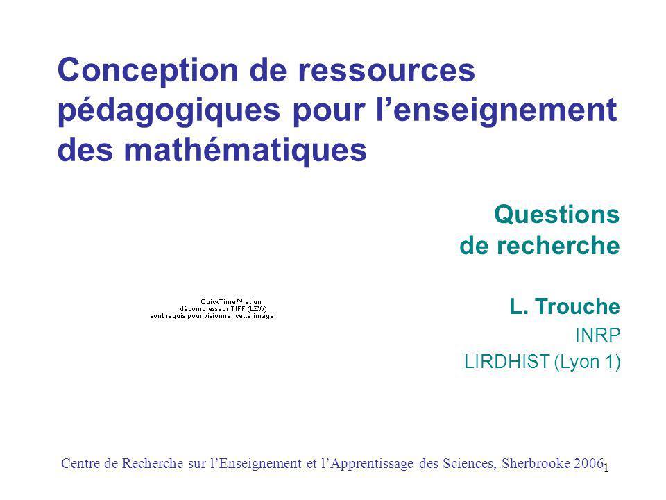 1 Conception de ressources pédagogiques pour lenseignement des mathématiques L.
