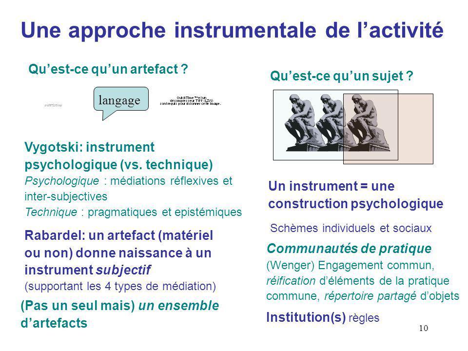 10 Une approche instrumentale de lactivité Quest-ce quun artefact .
