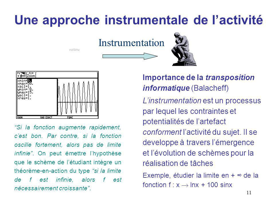 11 Une approche instrumentale de lactivité Instrumentation Importance de la transposition informatique (Balacheff) Linstrumentation est un processus par lequel les contraintes et potentialités de lartefact conforment lactivité du sujet.