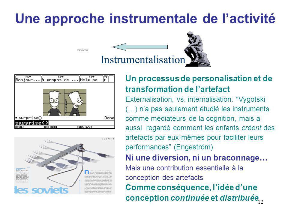 12 Une approche instrumentale de lactivité Un processus de personalisation et de transformation de lartefact Externalisation, vs.
