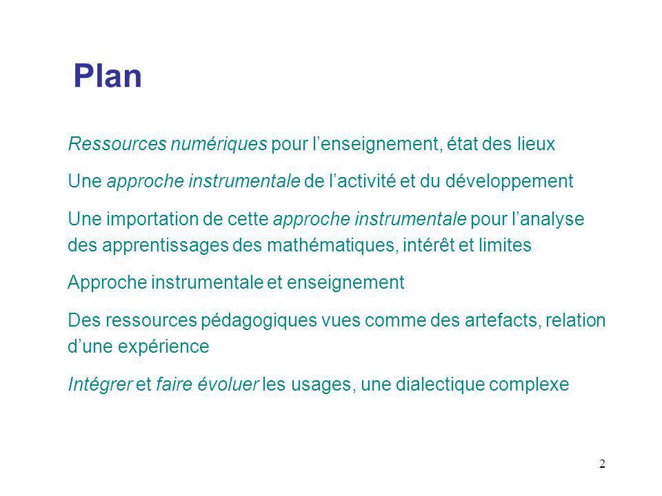 3 Ressources numériques, état des lieux Les projets institutionnels : du cartable numérique aux Espaces Numériques de Travail Caisse des Dépôts et Fondation Internet Nouvelle Génération (2004) Les mesures institutionnelles des usages Délégation aux usages de lInternet, MEN (baromètre 2005) Les mesures des usages dans le cadre de projets de recherche IREM Montpellier (2005), IREM Paris 7 (2005) Les besoins des enseignants CRDP Montpellier (2003)