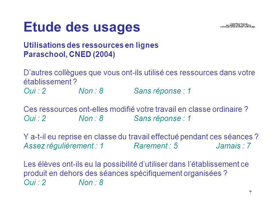 8 Etude des besoins Etude du CRDP de Montpellier, les ressources éducatives et les TICE, 2003