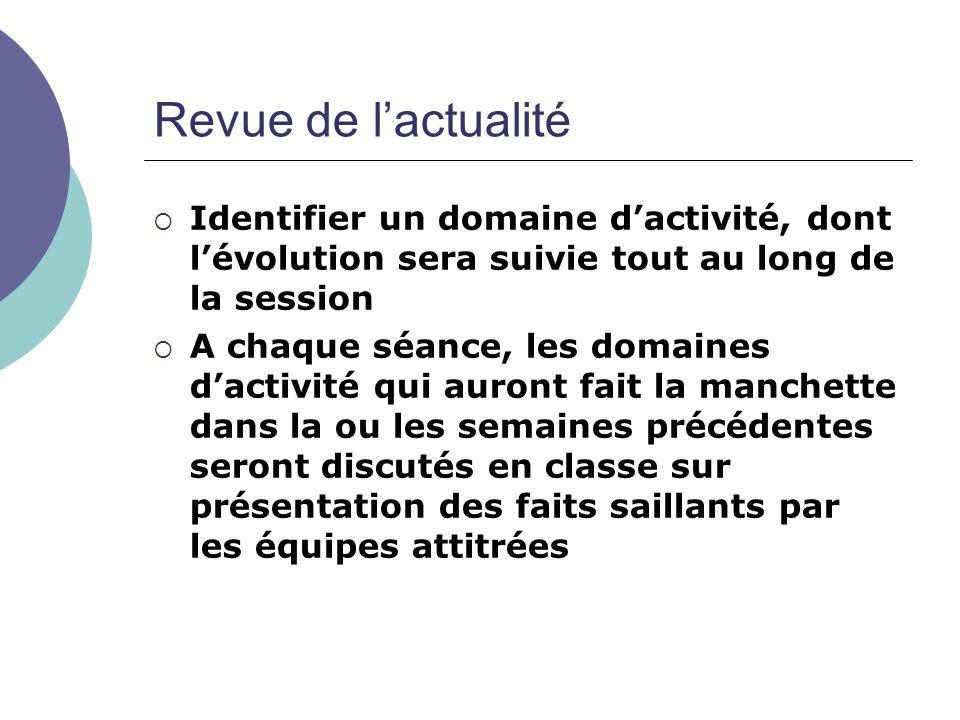 Revue de lactualité Identifier un domaine dactivité, dont lévolution sera suivie tout au long de la session A chaque séance, les domaines dactivité qu