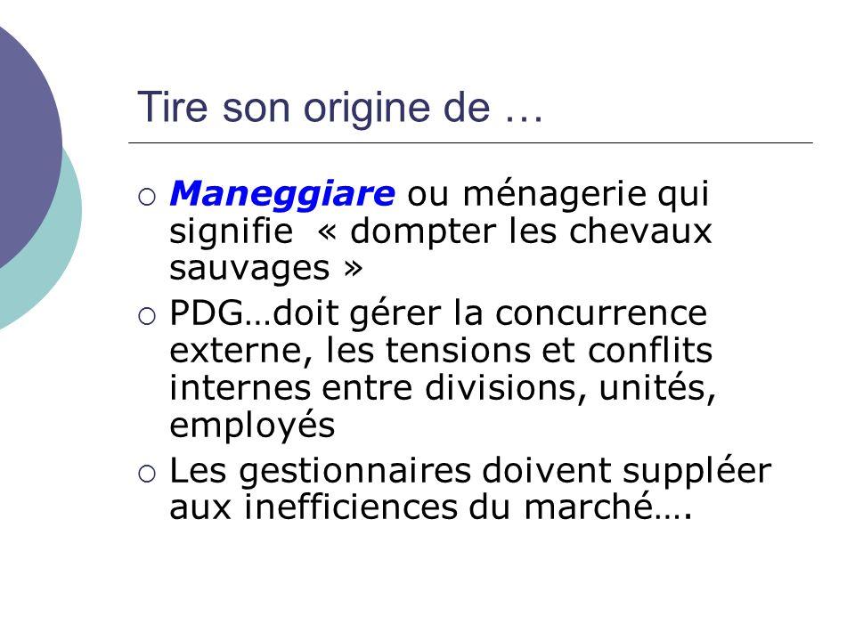 Tire son origine de … Maneggiare ou ménagerie qui signifie « dompter les chevaux sauvages » PDG…doit gérer la concurrence externe, les tensions et con