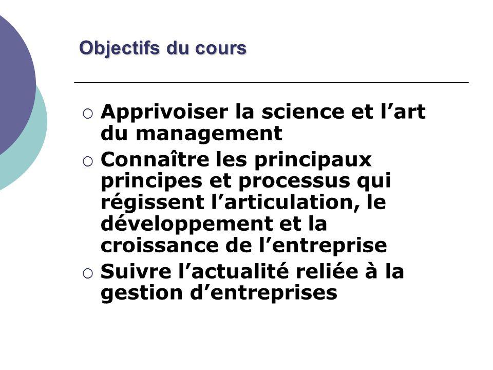Objectifs du cours Apprivoiser la science et lart du management Connaître les principaux principes et processus qui régissent larticulation, le développement et la croissance de lentreprise Suivre lactualité reliée à la gestion dentreprises