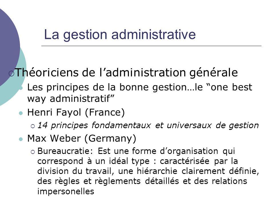 La gestion administrative Théoriciens de ladministration générale Les principes de la bonne gestion…le one best way administratif Henri Fayol (France)