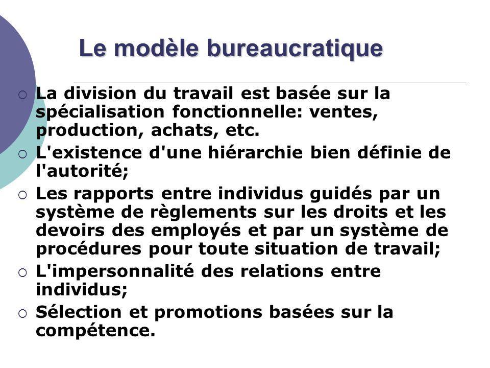 Le modèle bureaucratique La division du travail est basée sur la spécialisation fonctionnelle: ventes, production, achats, etc.