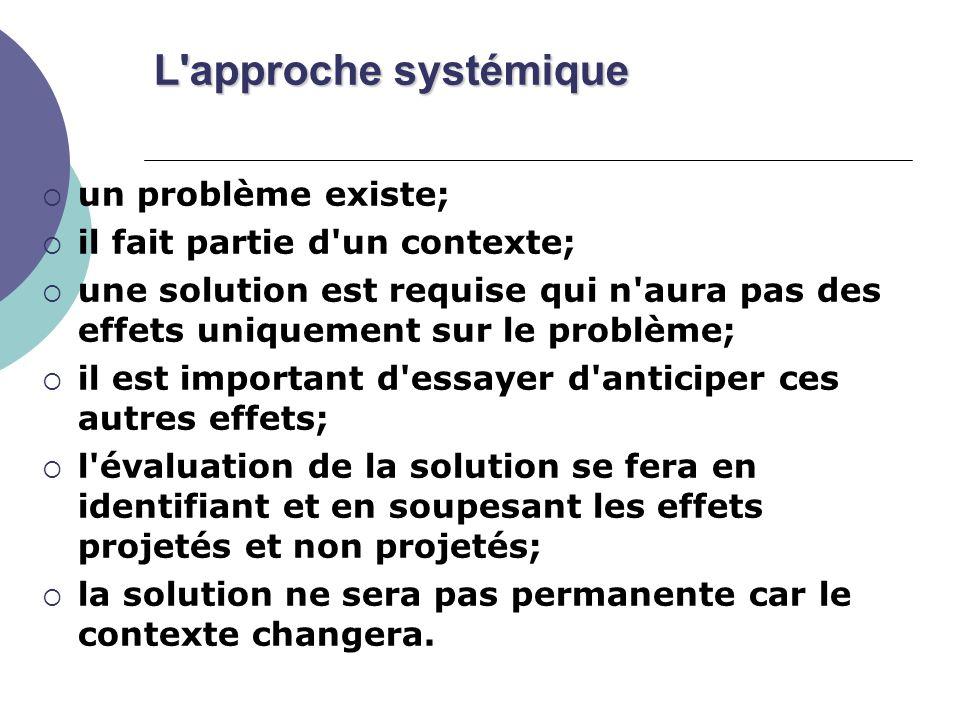 L'approche systémique un problème existe; il fait partie d'un contexte; une solution est requise qui n'aura pas des effets uniquement sur le problème;