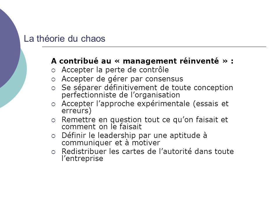 La théorie du chaos A contribué au « management réinventé » : Accepter la perte de contrôle Accepter de gérer par consensus Se séparer définitivement