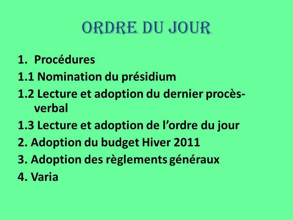 Ordre du jour 1.Procédures 1.1 Nomination du présidium 1.2 Lecture et adoption du dernier procès- verbal 1.3 Lecture et adoption de lordre du jour 2.