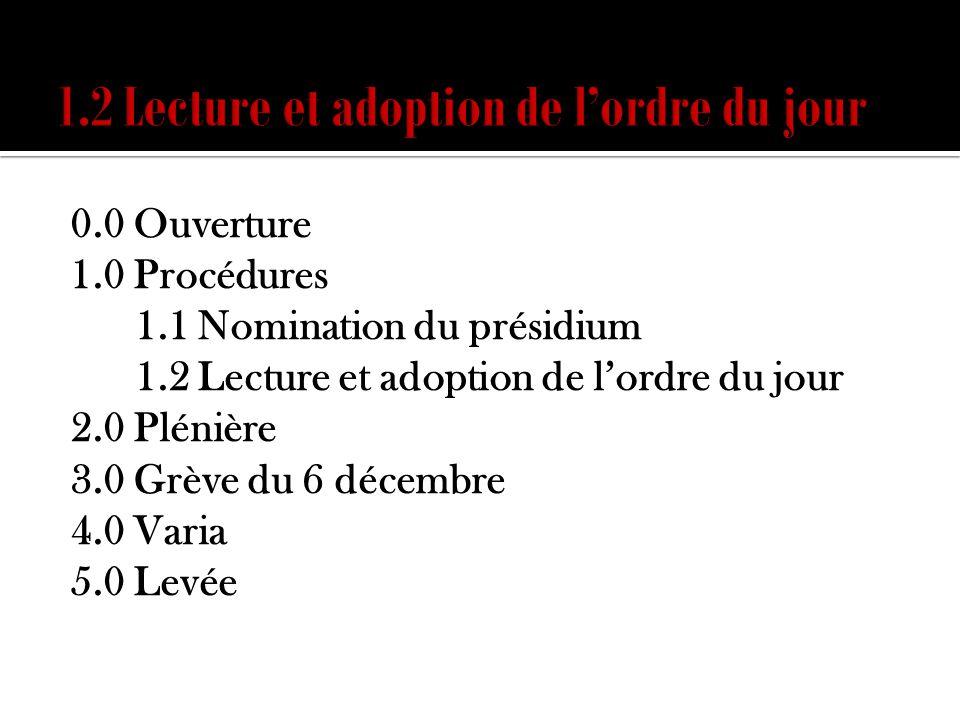 0.0 Ouverture 1.0 Procédures 1.1 Nomination du présidium 1.2 Lecture et adoption de lordre du jour 2.0 Plénière 3.0 Grève du 6 décembre 4.0 Varia 5.0