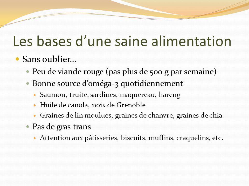 Les bases dune saine alimentation Sans oublier… Peu de viande rouge (pas plus de 500 g par semaine) Bonne source doméga-3 quotidiennement Saumon, trui