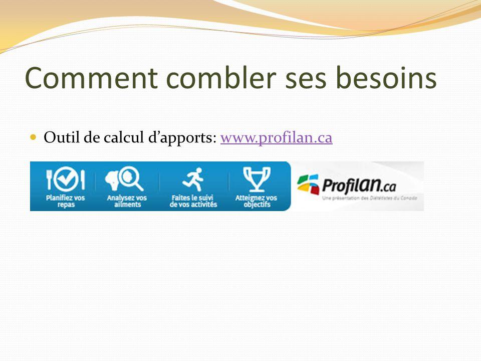 Comment combler ses besoins Outil de calcul dapports: www.profilan.cawww.profilan.ca