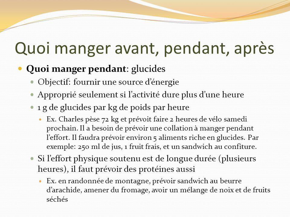 Quoi manger avant, pendant, après Quoi manger pendant: glucides Objectif: fournir une source dénergie Approprié seulement si lactivité dure plus dune