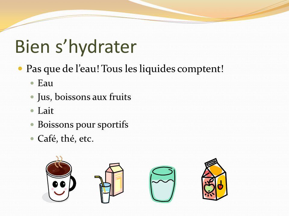 Bien shydrater Pas que de leau! Tous les liquides comptent! Eau Jus, boissons aux fruits Lait Boissons pour sportifs Café, thé, etc.