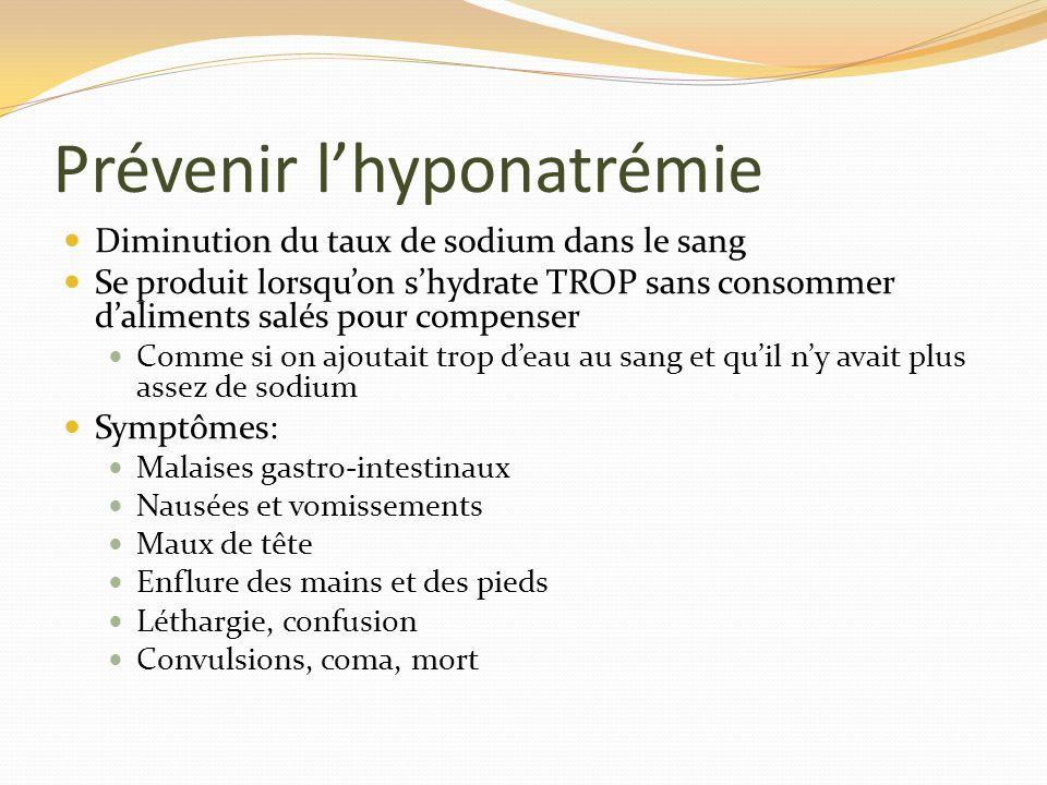 Prévenir lhyponatrémie Diminution du taux de sodium dans le sang Se produit lorsquon shydrate TROP sans consommer daliments salés pour compenser Comme