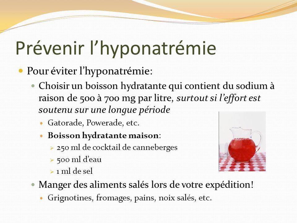 Prévenir lhyponatrémie Pour éviter lhyponatrémie: Choisir un boisson hydratante qui contient du sodium à raison de 500 à 700 mg par litre, surtout si