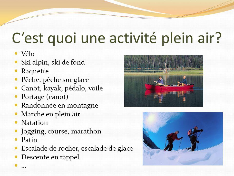 Cest quoi une activité plein air? Vélo Ski alpin, ski de fond Raquette Pêche, pêche sur glace Canot, kayak, pédalo, voile Portage (canot) Randonnée en