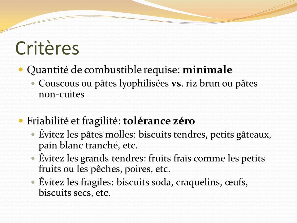 Critères Quantité de combustible requise: minimale Couscous ou pâtes lyophilisées vs. riz brun ou pâtes non-cuites Friabilité et fragilité: tolérance