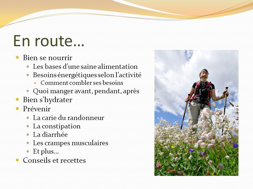 En route… Bien se nourrir Les bases dune saine alimentation Besoins énergétiques selon lactivité Comment combler ses besoins Quoi manger avant, pendan