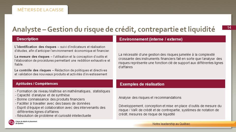 Analyste – Gestion du risque de crédit, contrepartie et liquidité Environnement (interne / externe) La nécessité dune gestion des risques jumelée à la