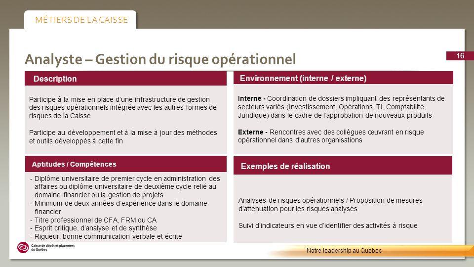 Analyste – Gestion du risque opérationnel Environnement (interne / externe) Interne - Coordination de dossiers impliquant des représentants de secteur