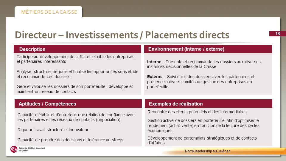 Directeur – Investissements / Placements directs Environnement (interne / externe) Interne – Présente et recommande les dossiers aux diverses instance