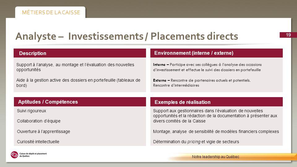 Analyste – Investissements / Placements directs Environnement (interne / externe) Interne – Participe avec ses collègues à lanalyse des occasions dinvestissement et effectue le suivi des dossiers en portefeuille Externe – Rencontre de partenaires actuels et potentiels.
