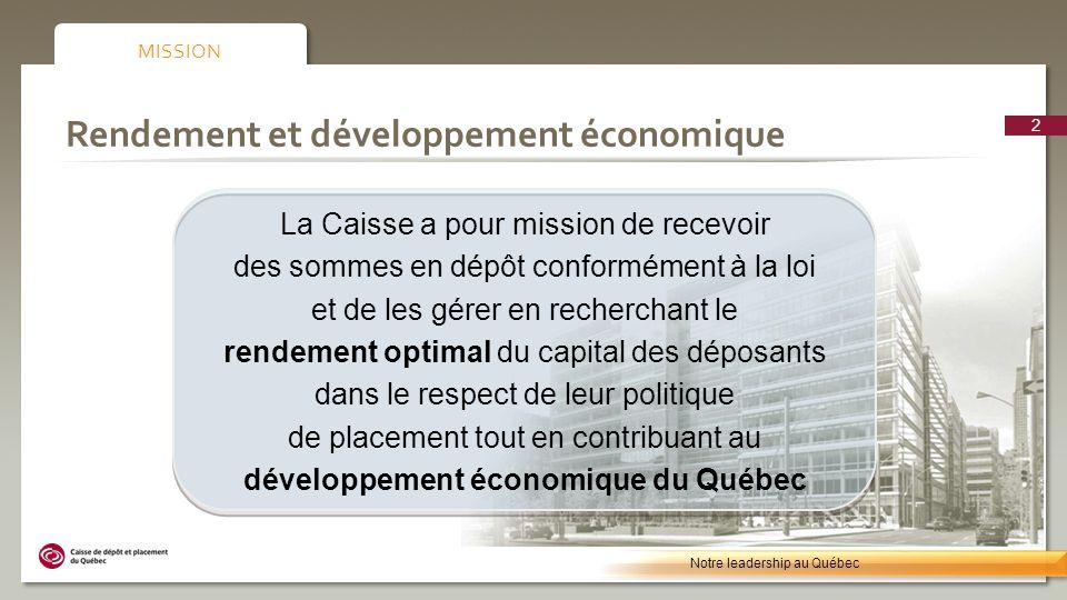 Gestion du risque 13 Notre leadership au Québec
