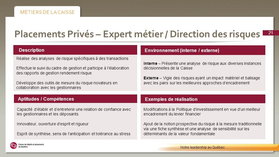 Placements Privés – Expert métier / Direction des risques Environnement (interne / externe) Interne – Présente une analyse de risque aux diverses inst