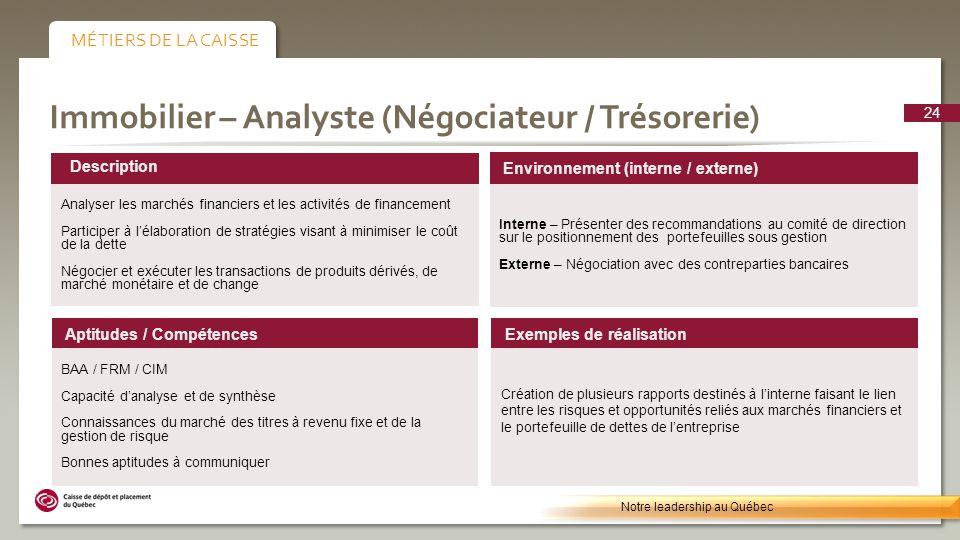Immobilier – Analyste (Négociateur / Trésorerie) Environnement (interne / externe) Interne – Présenter des recommandations au comité de direction sur