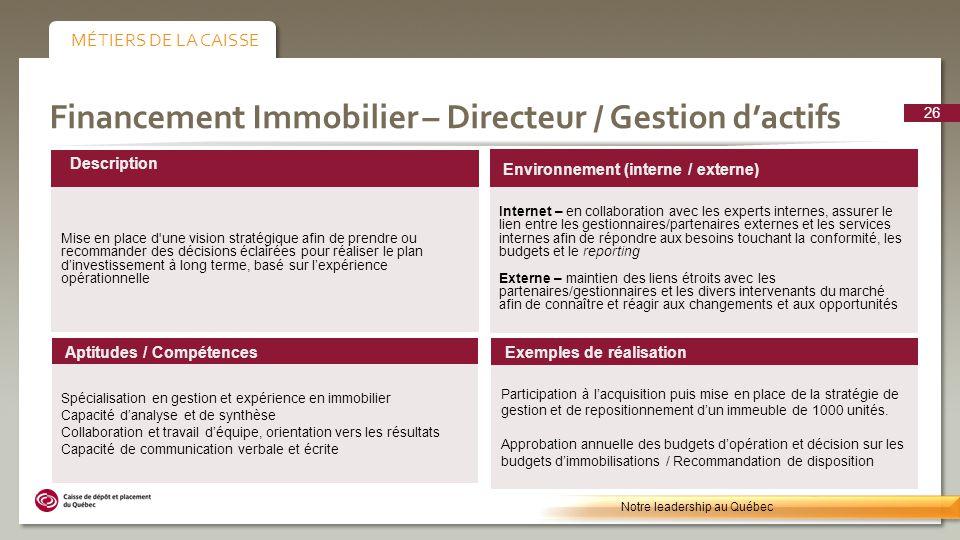 Financement Immobilier – Directeur / Gestion dactifs Environnement (interne / externe) Internet – en collaboration avec les experts internes, assurer