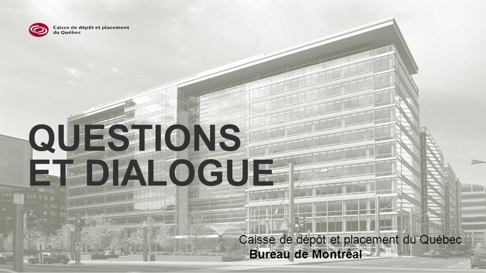 QUESTIONS ET DIALOGUE Caisse de dépôt et placement du Québec Bureau de Montréal