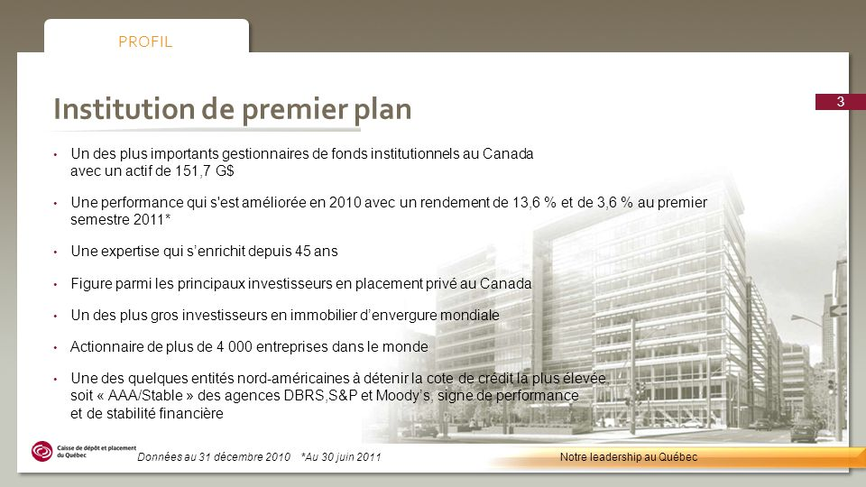 Institution de premier plan Un des plus importants gestionnaires de fonds institutionnels au Canada avec un actif de 151,7 G$ Une performance qui s'es