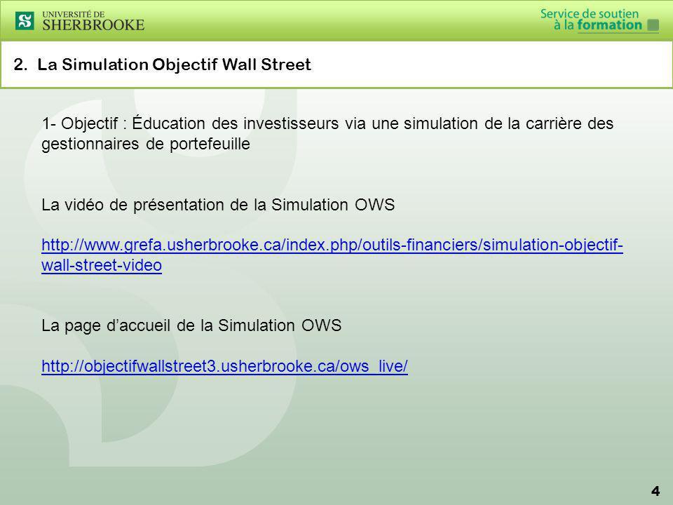 4 2. La Simulation Objectif Wall Street 1- Objectif : Éducation des investisseurs via une simulation de la carrière des gestionnaires de portefeuille
