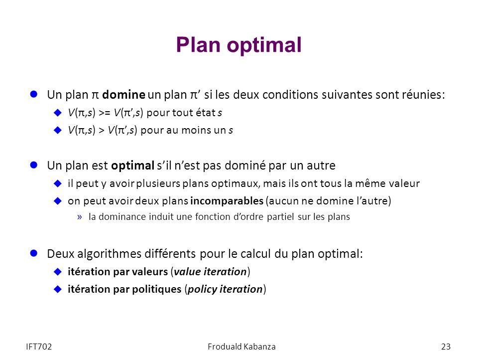 Plan optimal Un plan π domine un plan π si les deux conditions suivantes sont réunies: V(π,s) >= V(π,s) pour tout état s V(π,s) > V(π,s) pour au moins