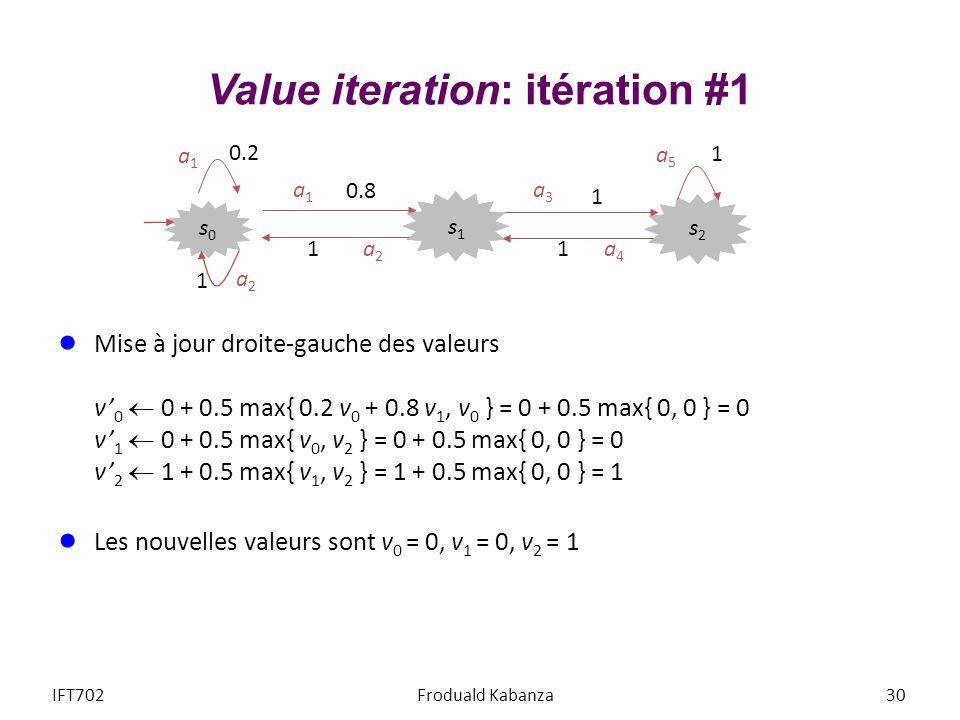 Value iteration: itération #1 Mise à jour droite-gauche des valeurs v 0 0 + 0.5 max{ 0.2 v 0 + 0.8 v 1, v 0 } = 0 + 0.5 max{ 0, 0 } = 0 v 1 0 + 0.5 ma