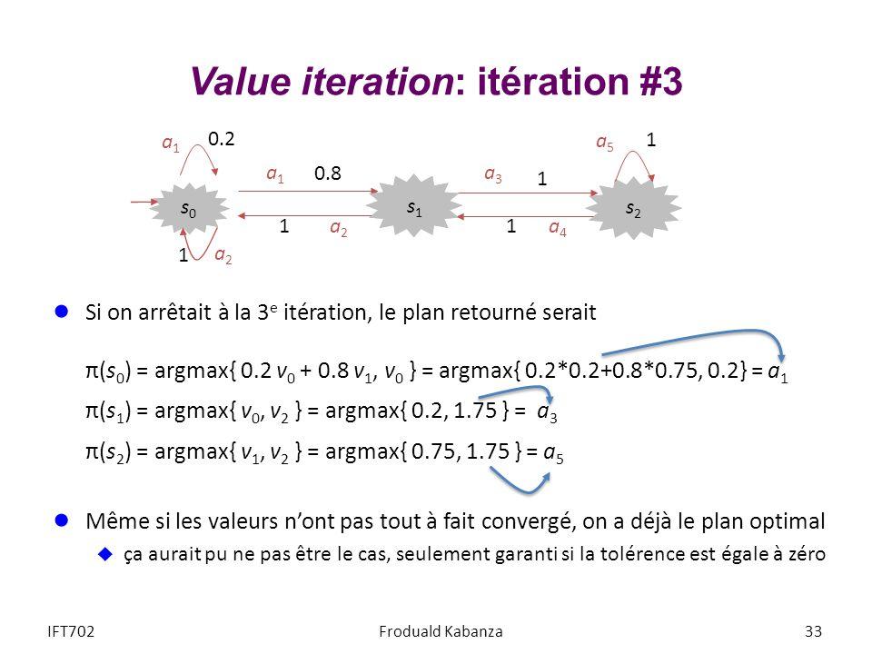 Value iteration: itération #3 Si on arrêtait à la 3 e itération, le plan retourné serait π(s 0 ) = argmax{ 0.2 v 0 + 0.8 v 1, v 0 } = argmax{ 0.2*0.2+