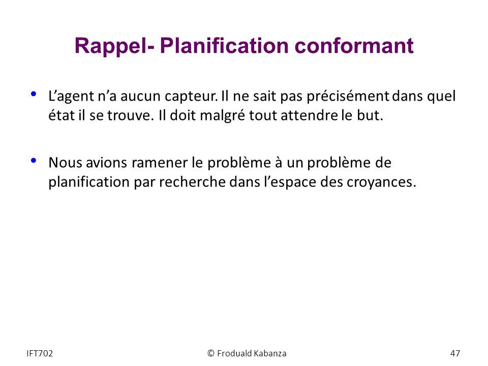 Rappel- Planification conformant Lagent na aucun capteur. Il ne sait pas précisément dans quel état il se trouve. Il doit malgré tout attendre le but.