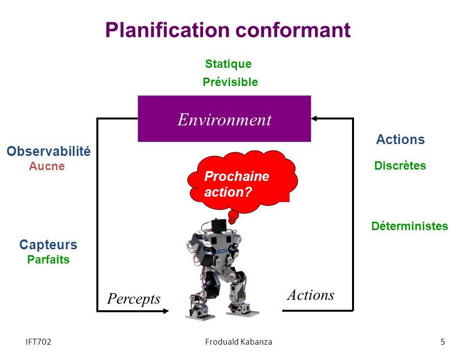 Planification conformant Prochaine action? Percepts Actions Environment Statique Observabilité Aucne Capteurs Parfaits Déterministes Discrètes Prévisi