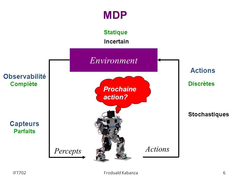 MDP Prochaine action? Percepts Actions Environment Statique Observabilité Complète Capteurs Parfaits Stochastiques Discrètes Incertain IFT702Froduald