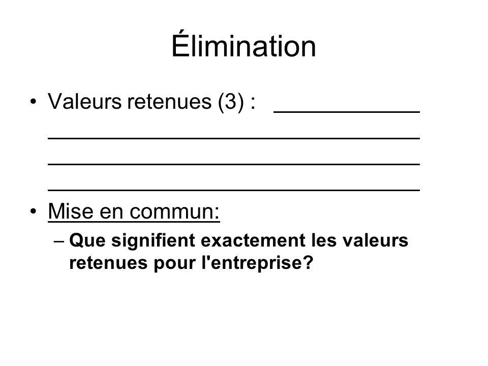 Élimination Valeurs retenues (3) : Mise en commun: –Que signifient exactement les valeurs retenues pour l'entreprise?