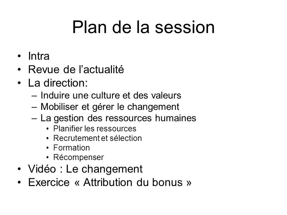 Plan de la session Intra Revue de lactualité La direction: –Induire une culture et des valeurs –Mobiliser et gérer le changement –La gestion des resso